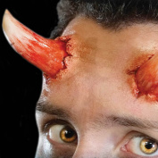 Tinsley Transfers Reg. Size DEVIL HORNS - Film Quality Realistic 3D Prosthetic Makeup FX Transfer. Apply With Water.