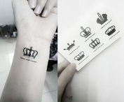 Set of 5 Waterproof Temporary Tattoo Stickers Royal Crowns King Queen Designs Body Art