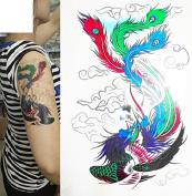 Colourful Temporary Tattoo Stickers Body Art Waterproof Phoenix Bird