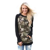 Women's Sweater,Neartime Long Sleeve Splice Camou Hoodie Sweatshirt Jumper Hooded with Pocket