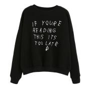 Women's Sweater,Neartime Slogan Print Black Hoodie Sweatshirt Cute Tops