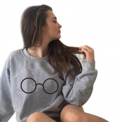 Women's Sweater,Neartime Long Sleeve Glasses Print Sweatshirt Cute Pullover Tops