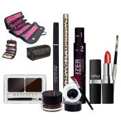 BeneU Makeup Cosmetic Set Combination Assorted Mixed Lot Bundle Eyeliner Gels,Eyeliner Pencil,Eyebrow Pencil,Mascara,Eyebrow Powder,Lipstick,Lipbrush with High-capacity Makeup Bag Cosmetic Organiser