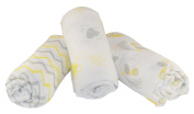 "Muslin Swaddle Blankets 3 Pack - Snug Bee - 47""x47"" - 100% Cotton Newborn Baby Blankets. Perfect Baby Shower Gift for Boys or Girls. BONUS Included."