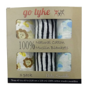 "Go Tyke - ""Safari Adventure"" 100% Cotton Muslin Baby Swaddle Blankets (3 Pack). Soft Oversized 120cm x 120cm X-Large Unisex blankets. The Ideal Baby Shower Gift. Nursery Set."