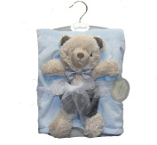 Baby Boy's 2-Pc Brushed Fleece Sherpa Blanket and Corduroy Teddy Bear Set