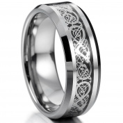 Chryssa Youree Men's Silver Black 8mm Titanium Steel Ring Band Irish Celtic Knot Dragon Comfort Fit Polished Wedding 7 to12 (YW-03)