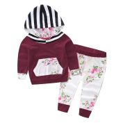 2 PCS/ Set Toraway Newborn Infant Toddler Baby Boys Girls Hooded Floral Tops+Pants Outfits Clothes
