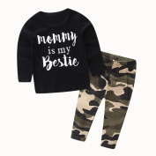 2 Pcs/Set Toraway Clothes Sets Suit Newborn Toddler Baby Boys Letter Print Tops + Camouflage Pants Clothes Outfits