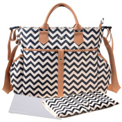 Bellotte Nappy Bags Large Satchel Tote With Shoulder Straps /Changing Pad /Stoller Stripes