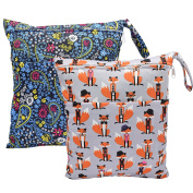 2 pcs Baby Wet/Dry Bag Splice Cloth Nappy Waterproof Bags with Zipper Snap Handle