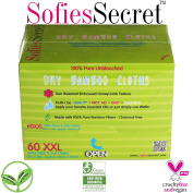 SofiesSecret 100% Unbleached Bamboo DRY Wipes, Refill 60 Count – Multi-Use