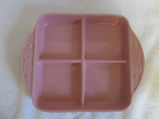 Longaberger Pink Pottery 8 x 8 Divided Dish