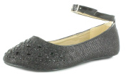New Girls/Childrens Silver Shimmer Party Ballerinas, Diamantes & Gems - Black - UK SIZES 10-5