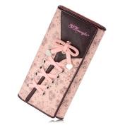 Aiklin Women's Leather Cute Trifold Wallet Pink