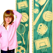 Growth Chart Art | Wooden Height Chart | Sports Growth Chart for Kids, Boys & Girls | Sports Themed Nursery Decor | Multi Sport Teal