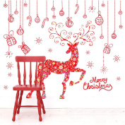 MuLuo Removable PVC Gift Christmas Decoration Window Stickers + Red Elk Sticker