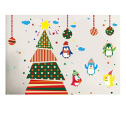 MuLuo PVC Decal Removable Christmas Tree Penguins Wall Stickers for Window Glass Door Dcoration