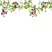 MuLuo Cartoon Monkeys Climbing Tree Vines Removable DIY Wall Sticker Decal for Bedroom