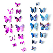 3D Butterfly Stickers - 24PCS Rommeka DIY Removable Art Wall Stickers Crafts Butterflies with Sponge Gum and Pins for Home Decor, Nursery Decoration
