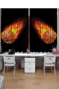 Sports Curtains 2 Panel Set by Ambesonne, Basketball Lover Ball on Fire Speed Fireball Shoot Hoops Kids Sporty Fun Art Print, Kids Bedroom Decor, 270cm X 160cm , Black Orange
