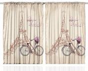 """Paris Curtains 2 Panel Set by Ambesonne, Eiffel Tower Floral Style Romantic Vintage Bike with Flowers """"Bonjour Paris"""" Quote Print, Kids Bedroom Decor, 270cm X 210cm , Beige"""