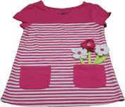 Kids Headquarters Girls Size 4 Flower Shirt, Pink/White Stripe