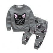 Yoyorule Lovely Baby Girls Long Sleeve Cats Print Tracksuit +Pants Outfits Set