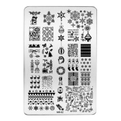 HUBEE Christmas Decorations Nail Stamping Plates Konad Stamping Nail Art Manicure Template Stamp Nail Tools