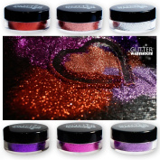 6pcs Purple & Chrome Silver GlitterWarhouse Cosmetic Grade Glitter Set - Mixed Sizes - Great for Nail Art, Tattoos, Soap, Face and so much more