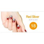 Art Ongle Nail Polish Strips, Nail Colour [Red/ Silver]