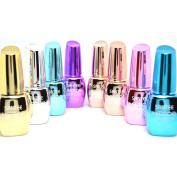 Santee 8 Full Colour Mirror Effect Chrome Metallic No UV / LED Nail Polish Bold Lacquer + Free Earring