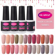 CLAVUZ 24pcs Gel Nail Polish Set Nude Colour Collection Soak Off Gel Nail Lacquer Nail Art Manicure High-gloss 8ml New Starter Christmas Gift Kit