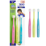 Baby Buddy 360 Toothbrush Step 2 Stage 6 for Ages 2-12 Years, Kids Love Them, Hot Pink-Lime-Teal, 3 Count