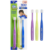 Baby Buddy 360 Toothbrush Step 2 Stage 6 for Ages 2-12 Years, Kids Love Them, Purple-Lime-Royal, 3 Count