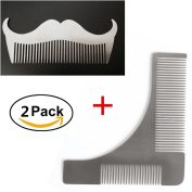 2 PCS Template Combs, Template Comb Beard Styling Comb Premium Handmade Anti-Static Stainless Steel Fine Beard Brush Best for Beard & Moustache Beard Shaping Tool