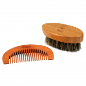 Breett Beard Wooden Comb Kit and Boar Bristles Beard Brush for Men Beard and Moustache