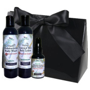 Simply Radiant Beauty Organic Bath & Body Gift Set includes 60ml Mini Coconut Milk Lotion, 60ml Body Wash & 60ml Hand Sanitizer Gift Set