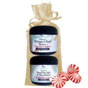 Simply Radiant Beauty Organic Skin Care Bath & Body Gift Set Peppermint Surprise Set 240ml Dead Sea Salt & Shea Butter + 240ml Whipped Body Butter