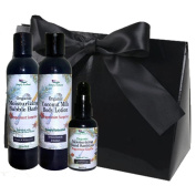 Simply Radiant Beauty Organic Bath & Body Gift Set includes 60ml Mini Coconut Milk Lotion, 60ml Bubble Bath & 60ml Hand Sanitizer Gift Set