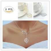 Fireboomoon 6PCS Minimalist Dainty Gold Silver Womens Necklace Metal Double Leaf Pendant Alloy Choker Chain