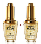 2 PCS X Pure 24K Gold Essence Anti Wrinkle Face Skin Care Anti Ageing Collagen Whitening Moisturising Hyaluronic Acid Liquid 30ml + FREE GIFT
