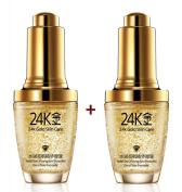 2 PCS X Pure 24K Gold Essence Anti Wrinkle Face Skin Care Anti Ageing Collagen Whitening Moisturising Hyaluronic Acid Liquid 30ml + FREE GIFT