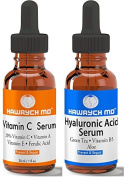 HAWRYCH MD Vitamin C and Hyaluronic Acid Serum Set The Best Anti Ageing Serums Diminish Lines Wrinkles and Hydrate Skin