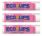 VEGAN LIP BALM Bee Free 3-Pack Superfruit (3 tubes) by Eco Lips. Candelilla Wax, Organic Cocoa Butter, & Organic Coconut Oil Lip Care. Soothe & Moisturise Dry, Cracked and Chapped Lips - Made in USA.