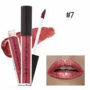 eshion 7 Colours Metallic Lip Gloss Waterproof Not Stick On Cup Liquid Lipstick Cosmetics