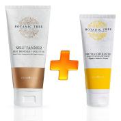 Self Tanner + Pre Tan Exfoliator- 100% Organic Natural Sunless Tanning Lotion- Best Bronze+Golden Tan-For All Skin Types, Fair, Light, Dark And Sensitive.