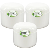 3 x 120ml New & Empty DIY White Jars with White Dome Cap Liner Lids by COTU (R)