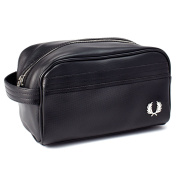 Fred Perry Black Pique Texture Travel Kit Bag