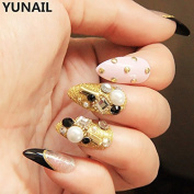 Yunail Sharp Wedding Long Nail Tips 24pcs Transparent Golden with Rivets Fake Nails in Acrylic Box with Glue Sticker for Bride